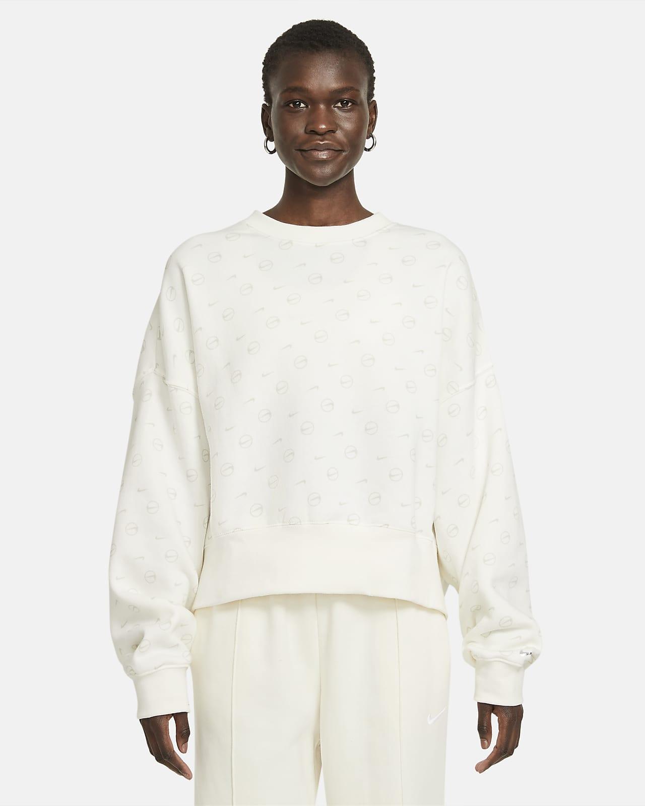 Nike Sportswear Fleecetop met ronde hals en print voor dames