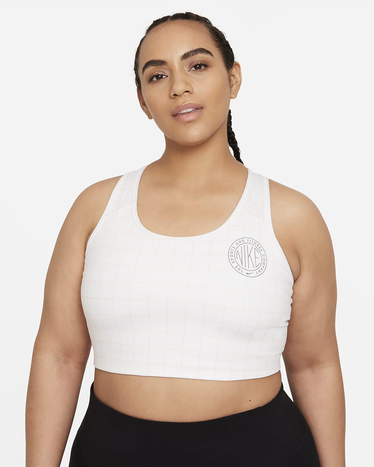 Bra deportivo estampado sin almohadilla de sujeción media talla grande para mujer Nike Dri-FIT Swoosh Femme