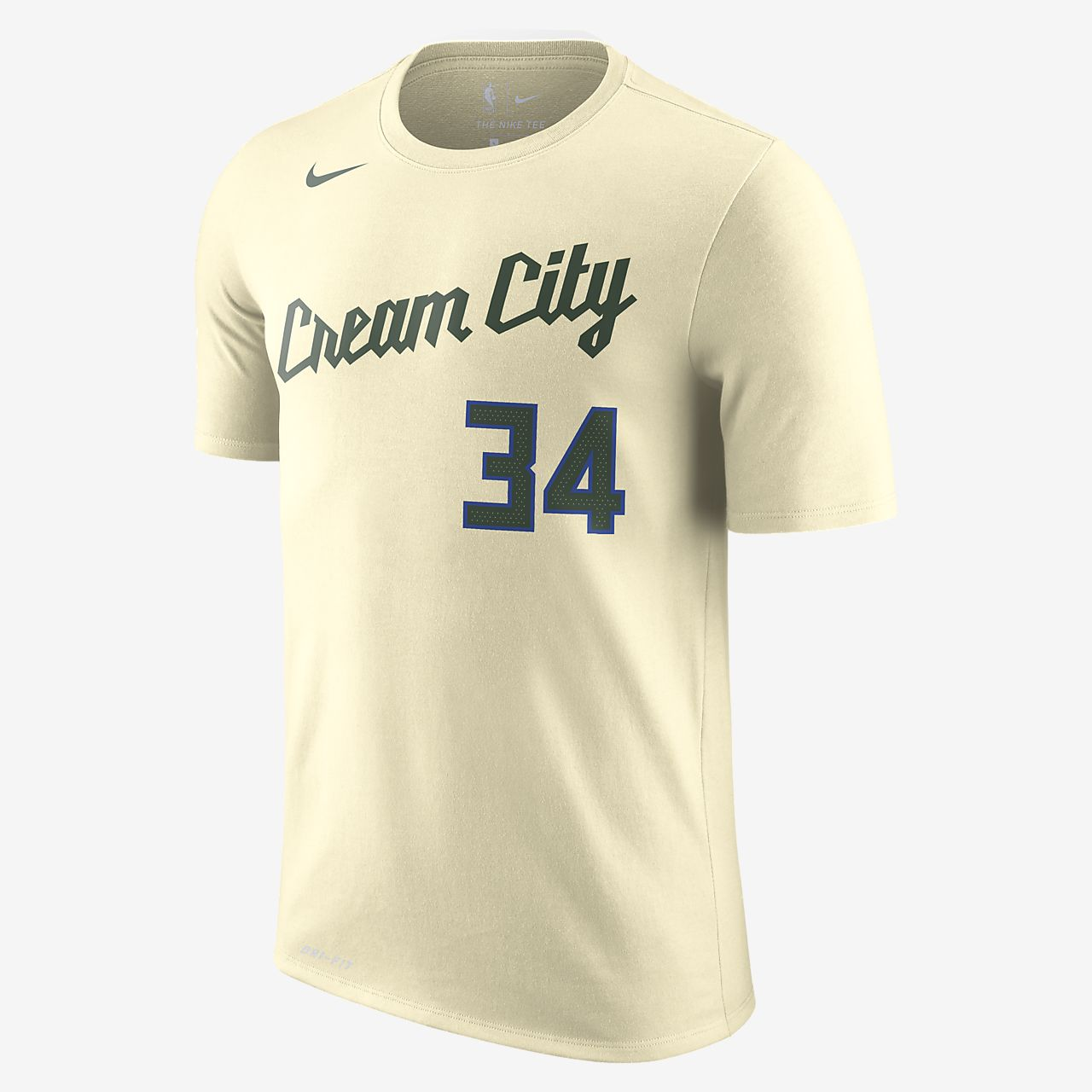 Giannis Antetokounmpo Bucks City Edition Nike Dri FIT NBA T shirt til mænd