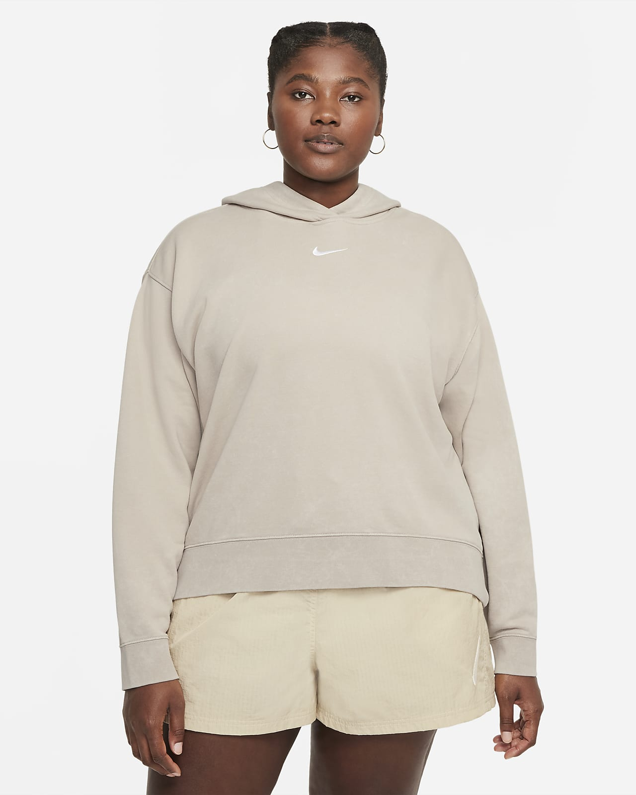 Sudadera con gorro de tejido Fleece desgastada para mujer Nike Sportswear Essential Collection (talla grande)