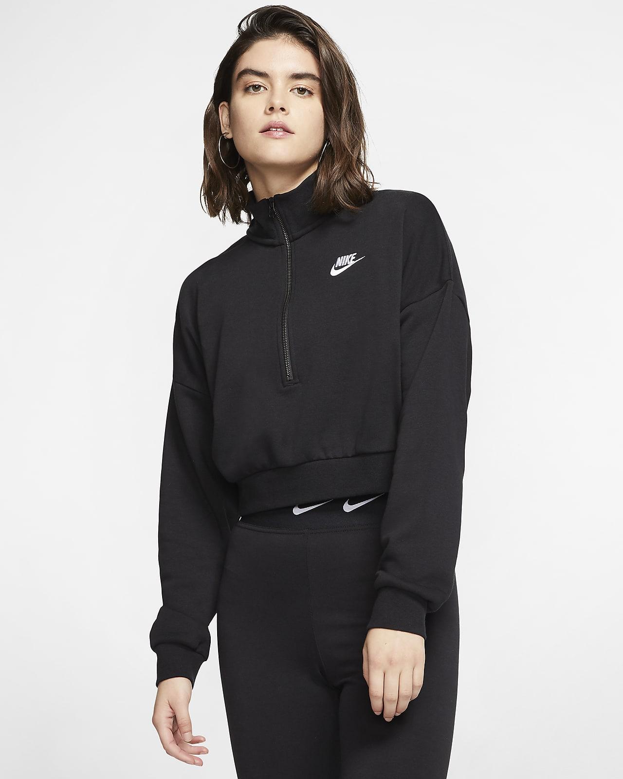 Langærmet Nike Sportswear Essential-crop top i fleece til kvinder