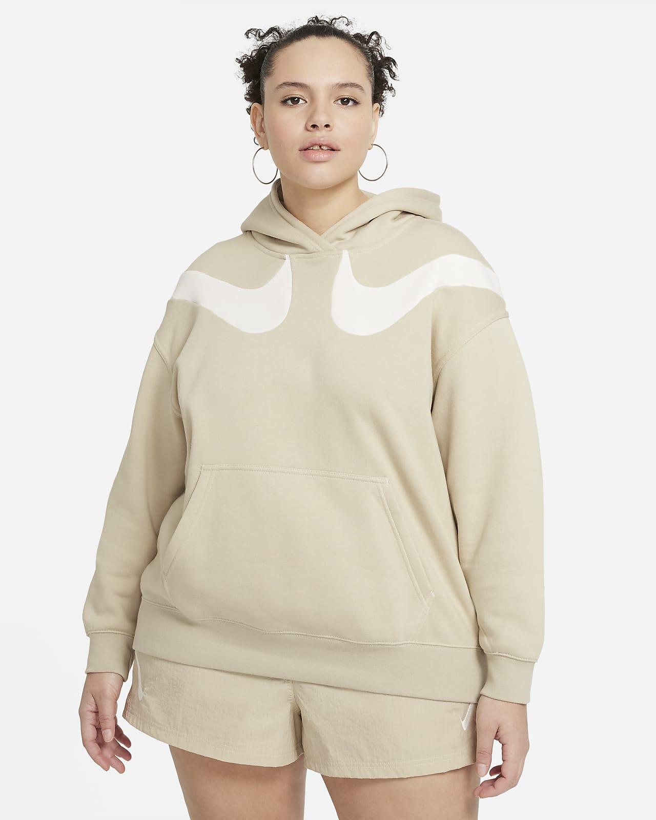 Sudadera con gorro de tejido Fleece oversized para mujer talla grande Nike Sportswear Swoosh