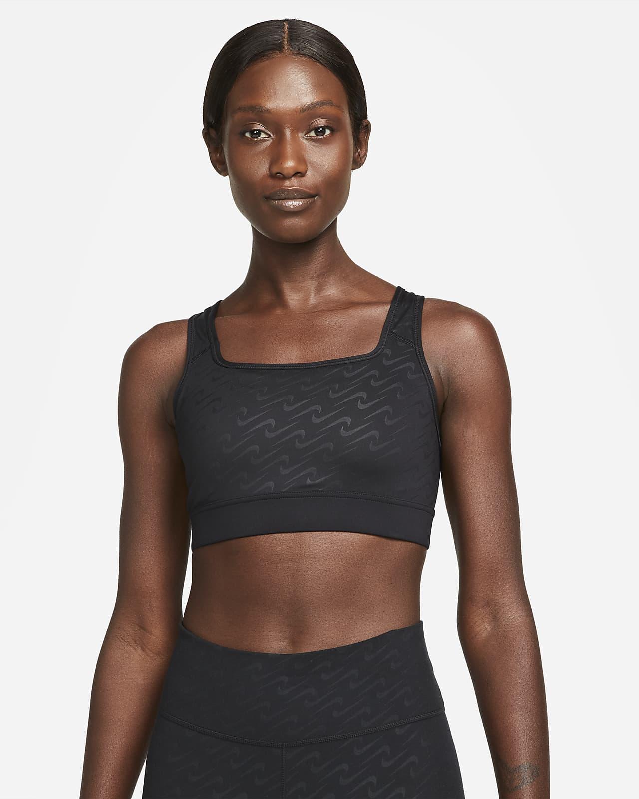 Dámská sportovní podprsenka Nike Dri-FIT Swoosh Icon Clash se střední oporou, jednodílnou vycpávkou apotiskem