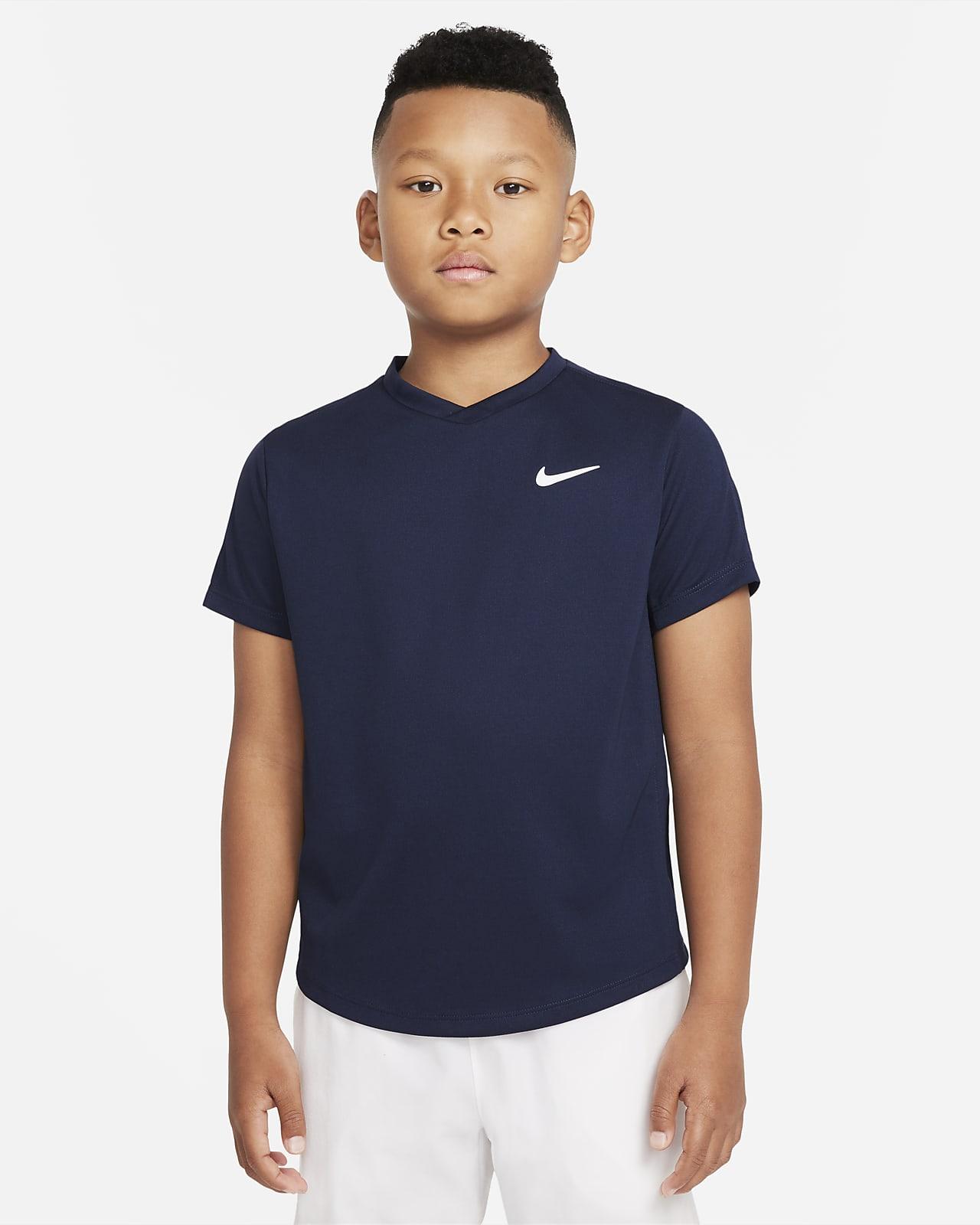 Haut de tennis à manches courtes NikeCourt Dri-FIT Victory pour Garçon plus âgé