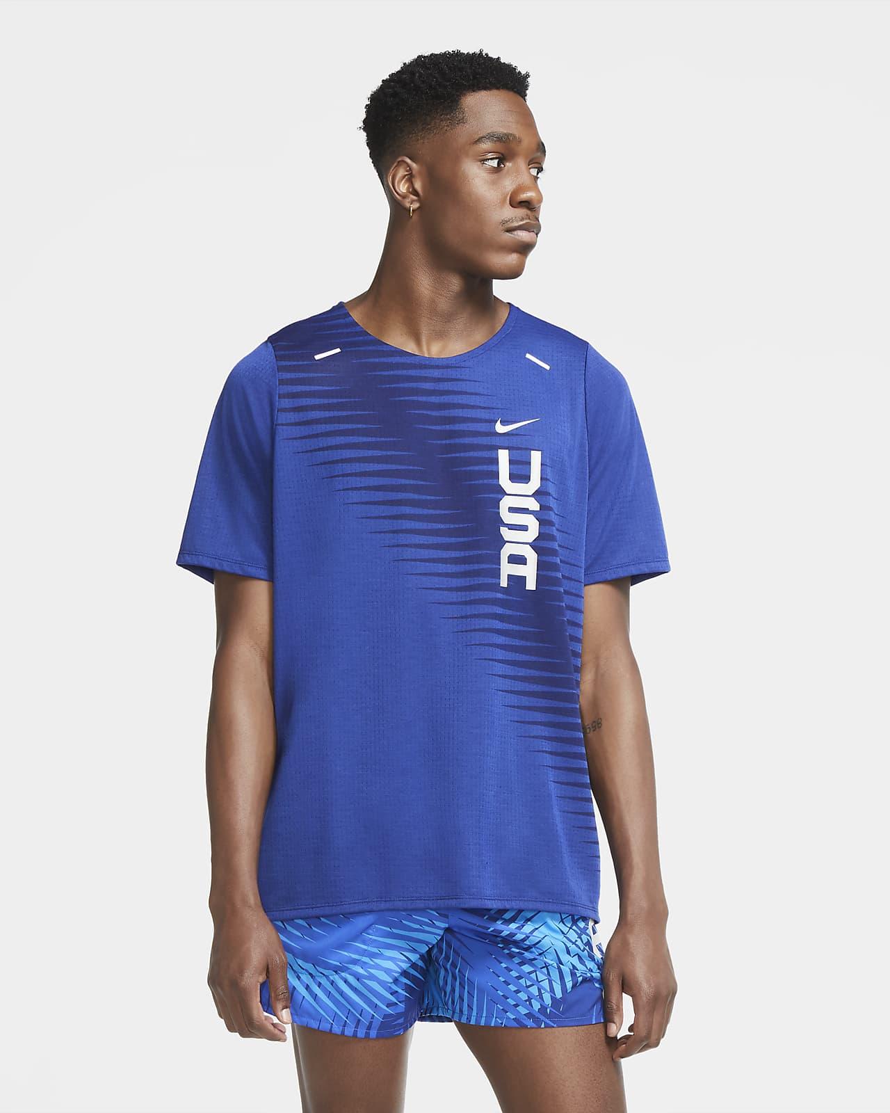 Kortärmad löpartröja Nike Dri-FIT Team USA Rise 365 för män