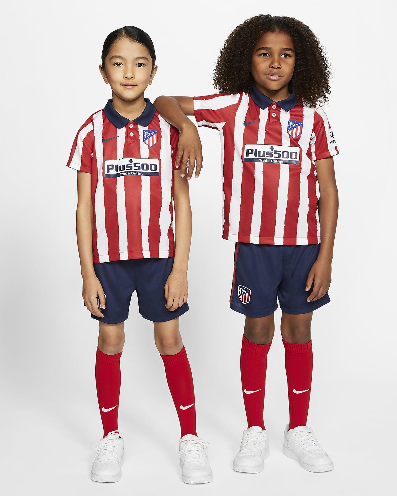 Kit de fútbol de local para niños talla pequeña del Atlético de Madrid 2020/21