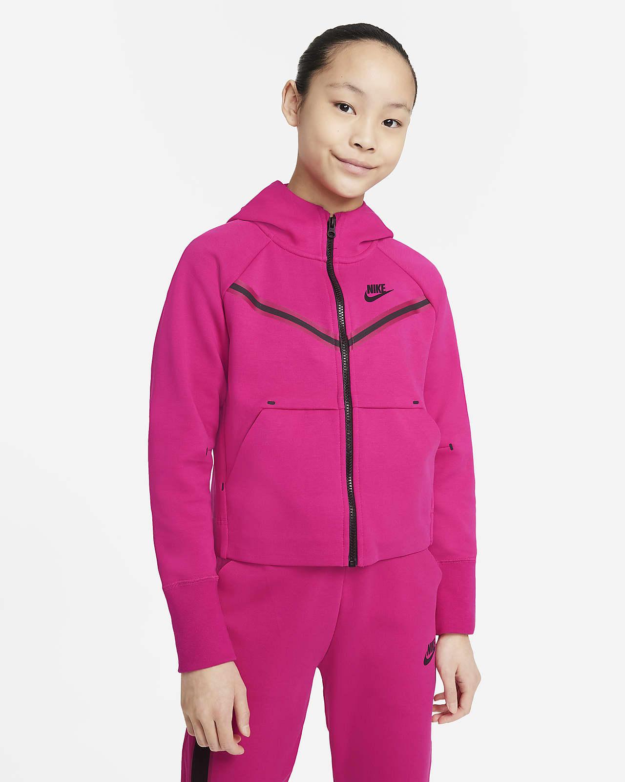 Sudadera con capucha de cierre completo para niñas talla grande Nike Sportswear Tech Fleece