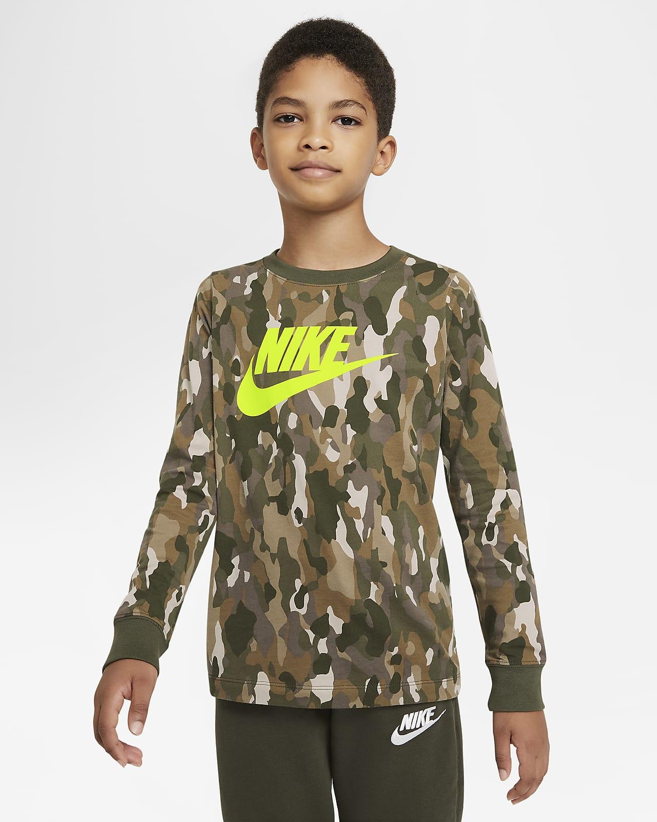 Nike Sportswear langermet T-skjorte med trykk til store barn (gutt)