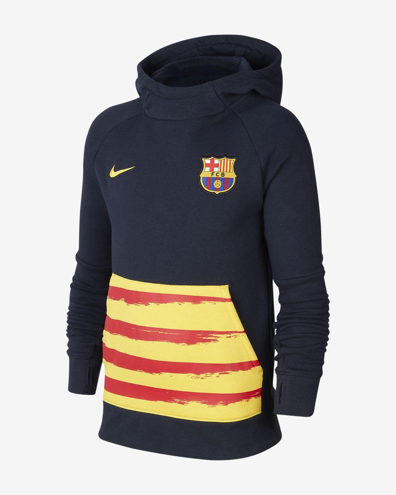 FC Barcelona Older Kids' Fleece Pullover Football Hoodie