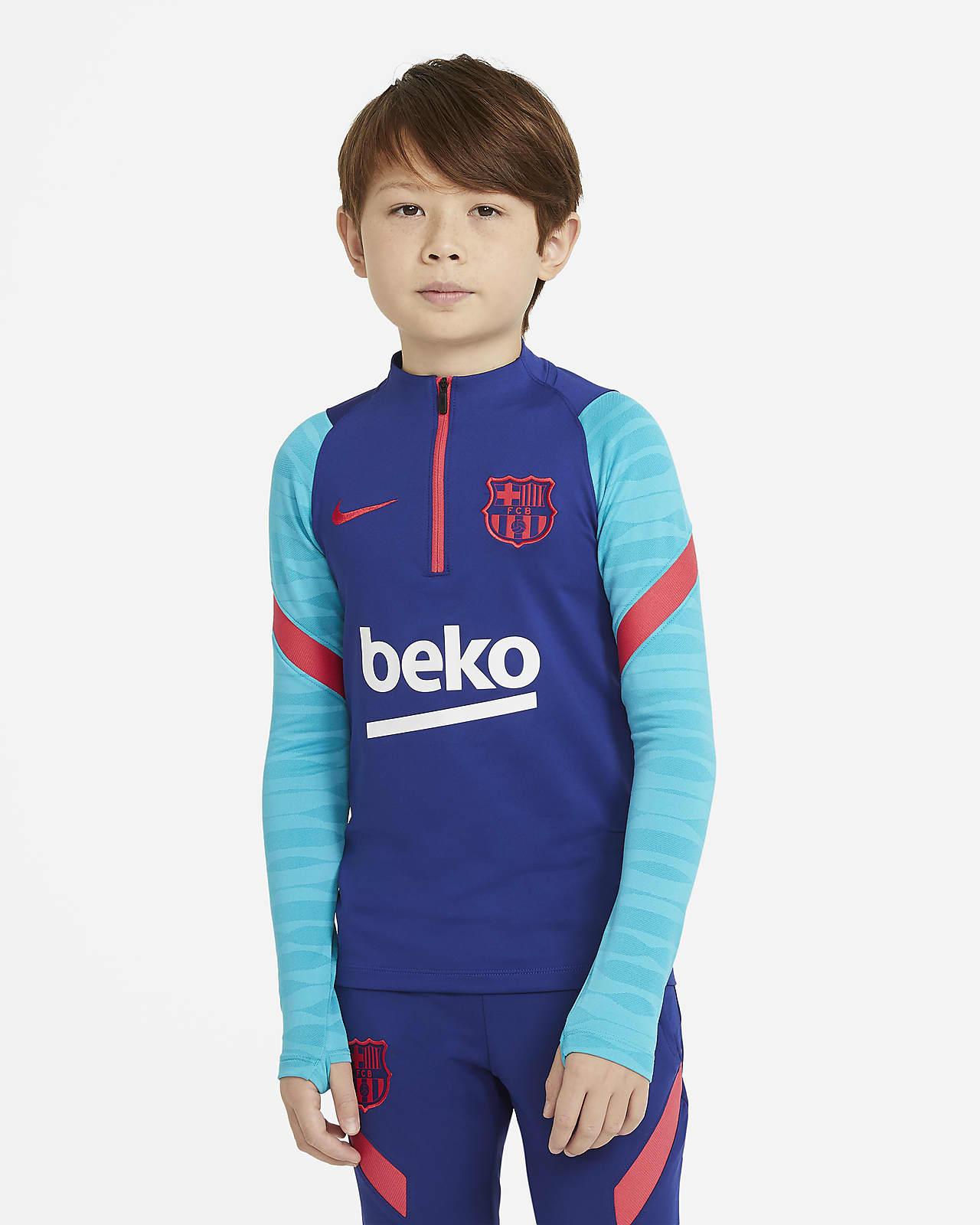 Haut d'entraînement de football à manches longues FC Barcelona Strike pour Enfant plus âgé