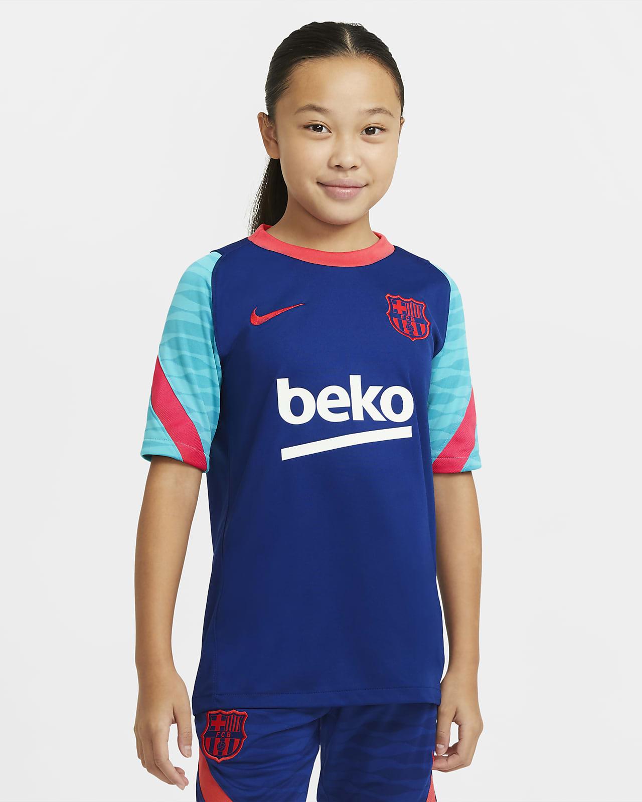 Haut de football à manches courtes FC Barcelona Strike pour Enfant plus âgé