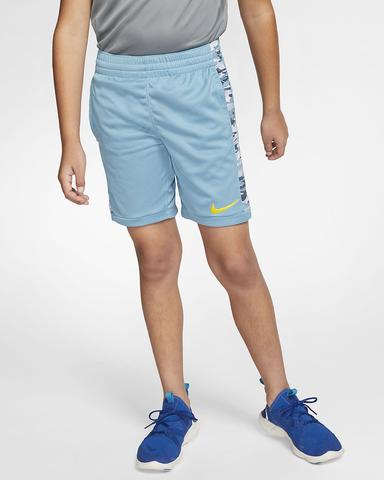 Nike Dri-FIT Big Kids Printed Training Shorts,Royal//White,Small Boys