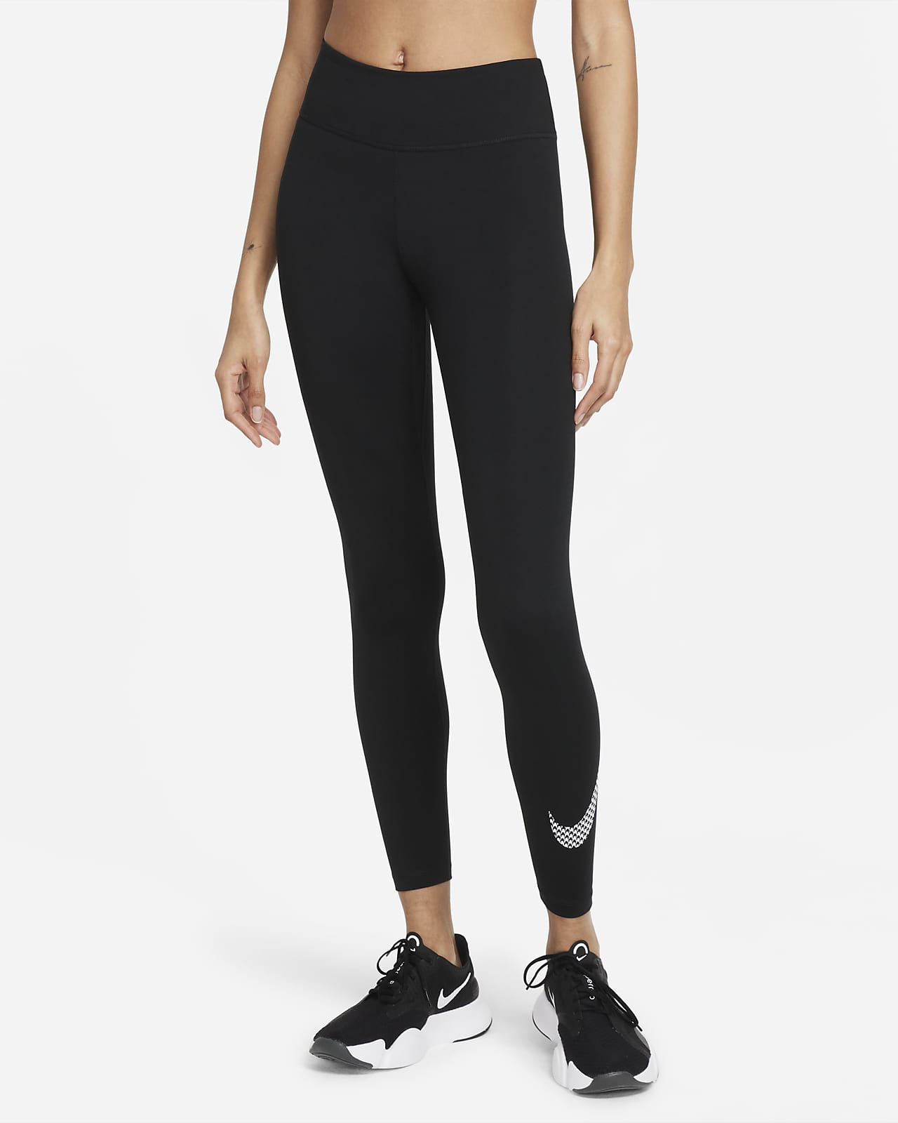 Nike Dri-FIT One Icon Clash Legging met halfhoge taille en graphic voor dames