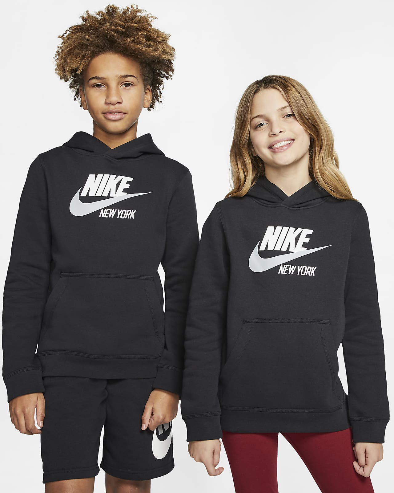 Sudadera con capucha sin cierre para niños talla grande Nike Sportswear Club Fleece New York