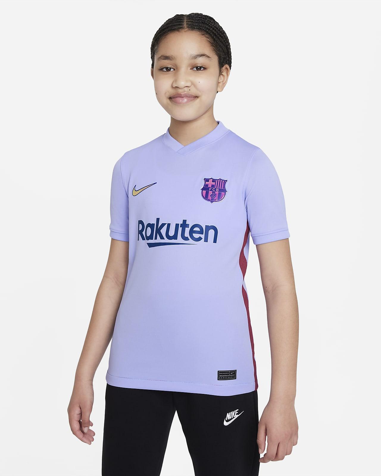 Camiseta de fútbol Nike Dri-FIT para niños talla grande FC Barcelona visitante 2021/22 Stadium