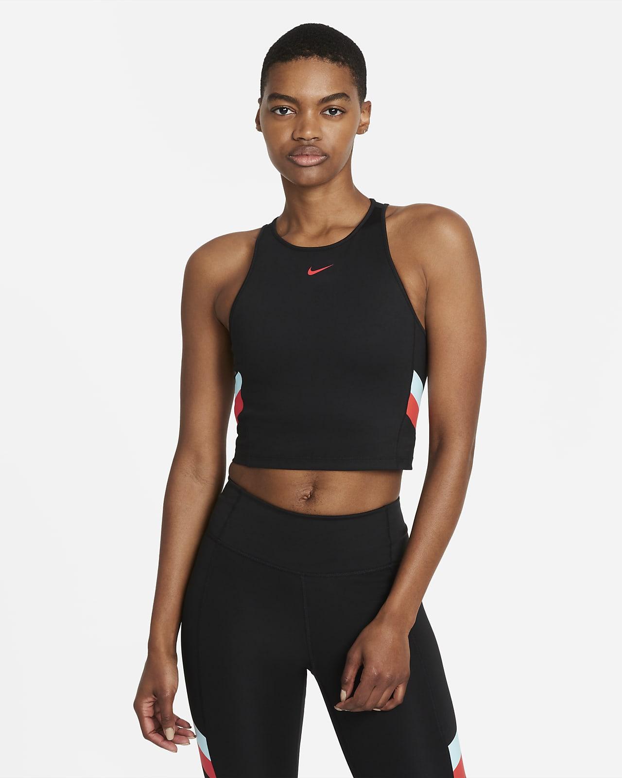 Nike Women's Colour-Block Stripe Cropped Training Tank