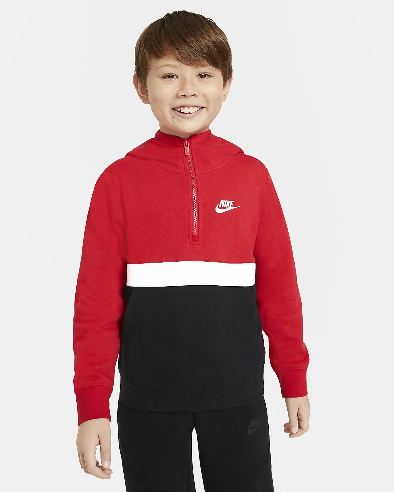 Μπλούζα με κουκούλα και φερμουάρ στο μισό μήκος Nike Sportswear Club για μεγάλα αγόρια