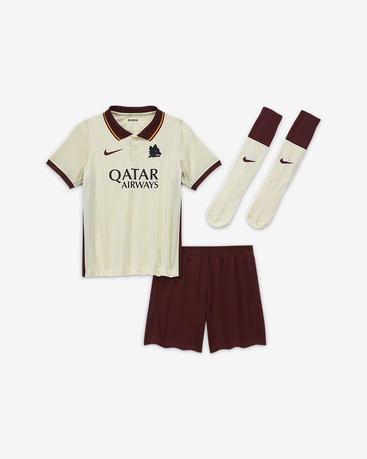 Kit de fútbol de visitante para niños talla pequeña del AS Roma 2020/21
