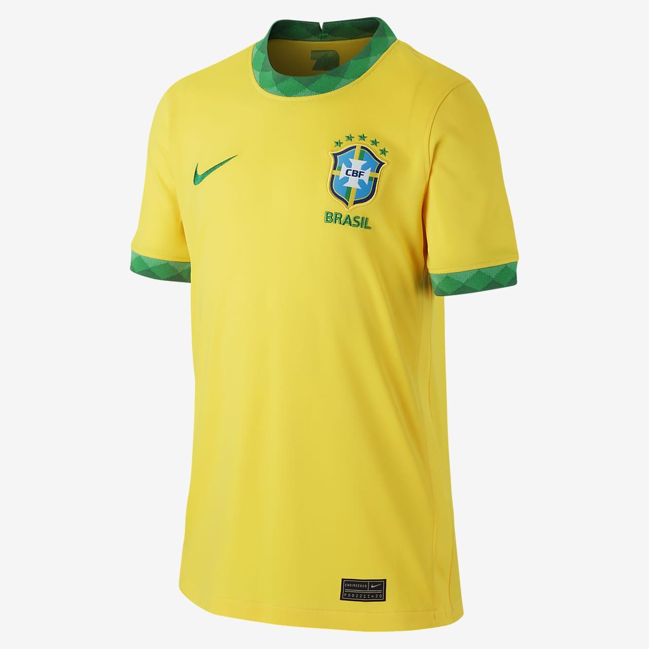 Brasilien 2020 Stadium Home Fußballtrikot für ältere Kinder