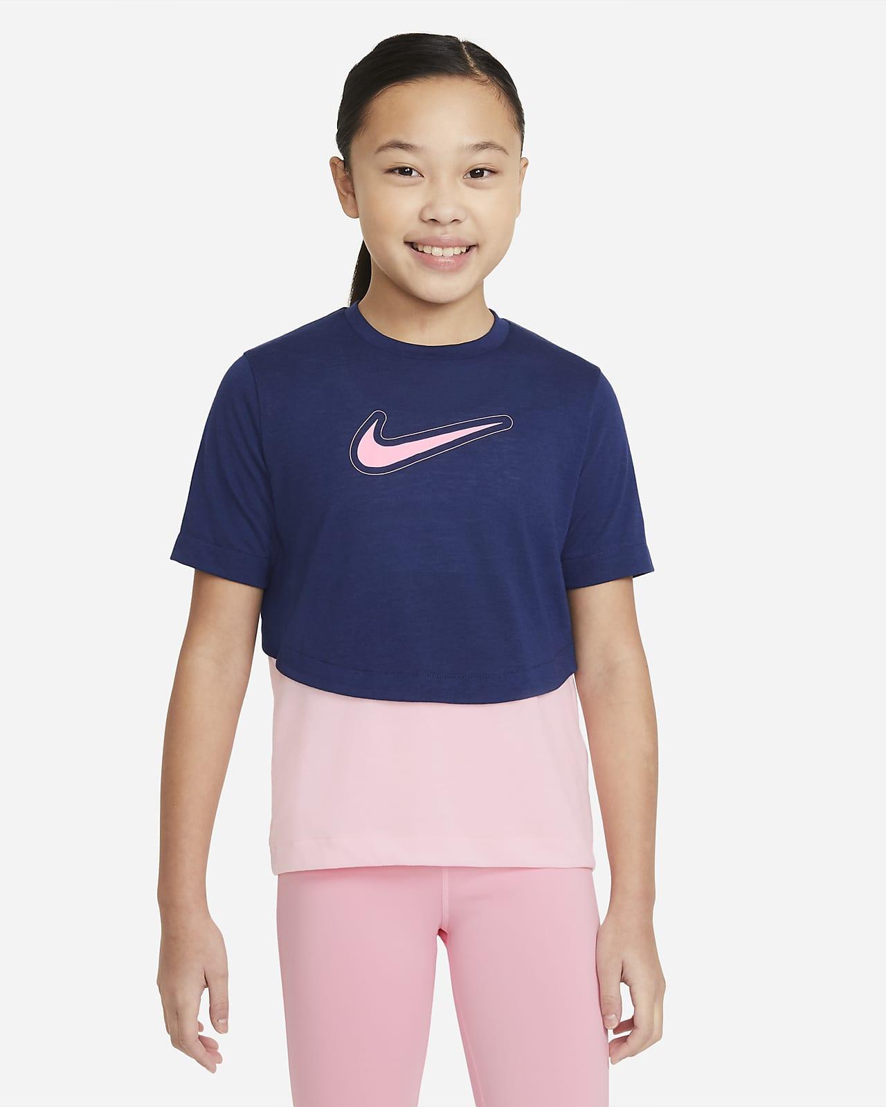 Camiseta de entrenamiento de manga corta para niña talla grande Nike Dri-FIT Trophy
