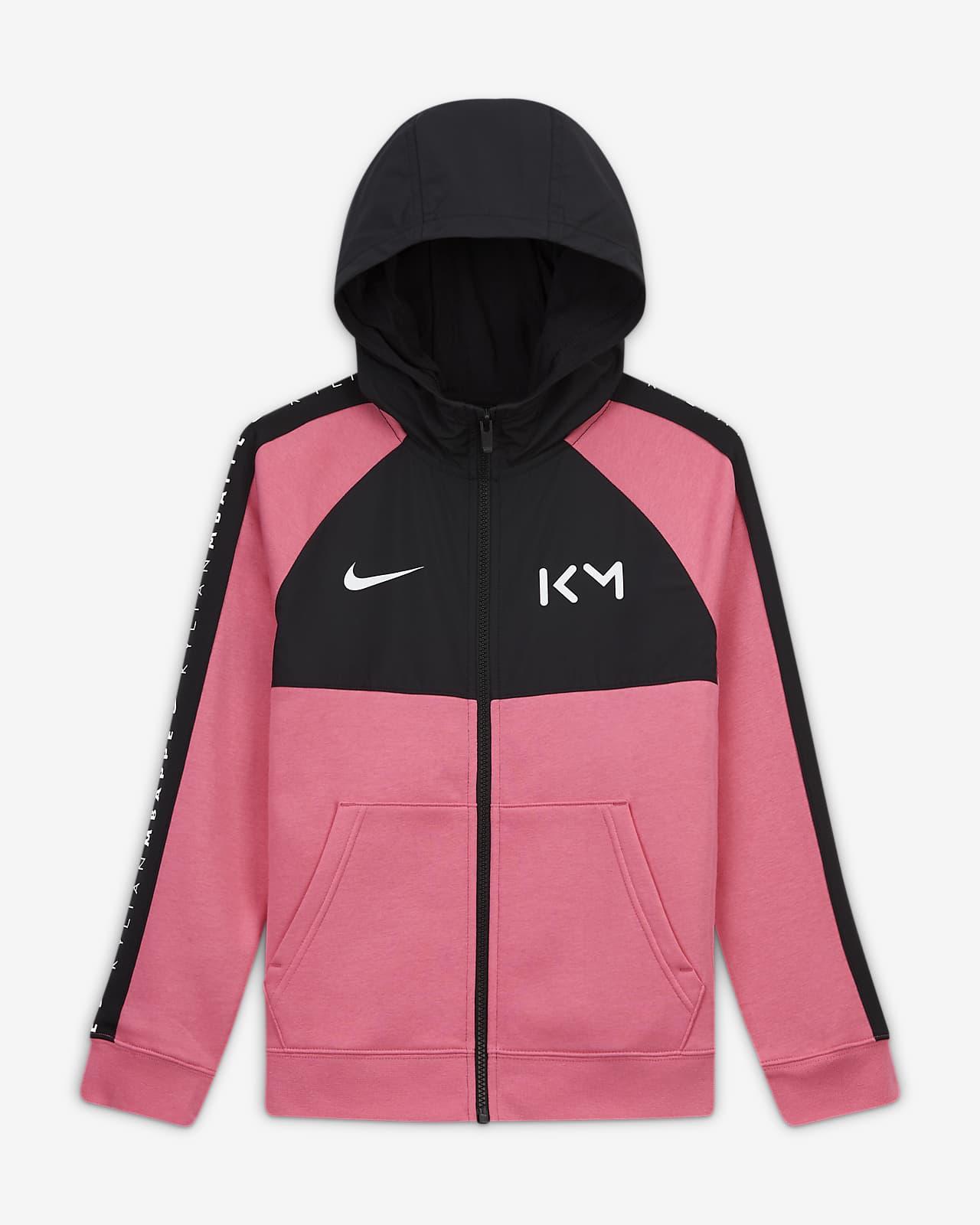 Sweat à capuche de football avec zip et en tissu Fleece Kylian Mbappé pour Enfant plus âgé