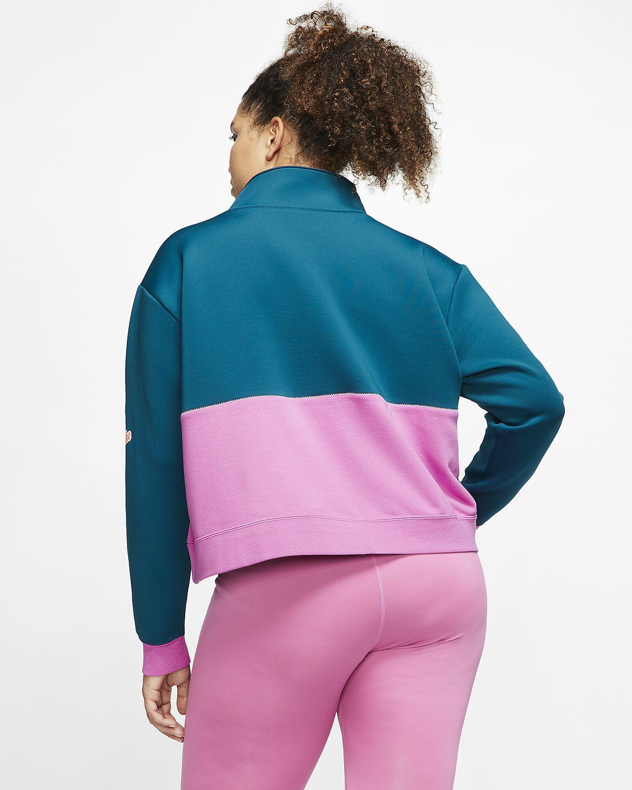 Nike Pro Get Fit overdel av fleece til dame (store størrelser)