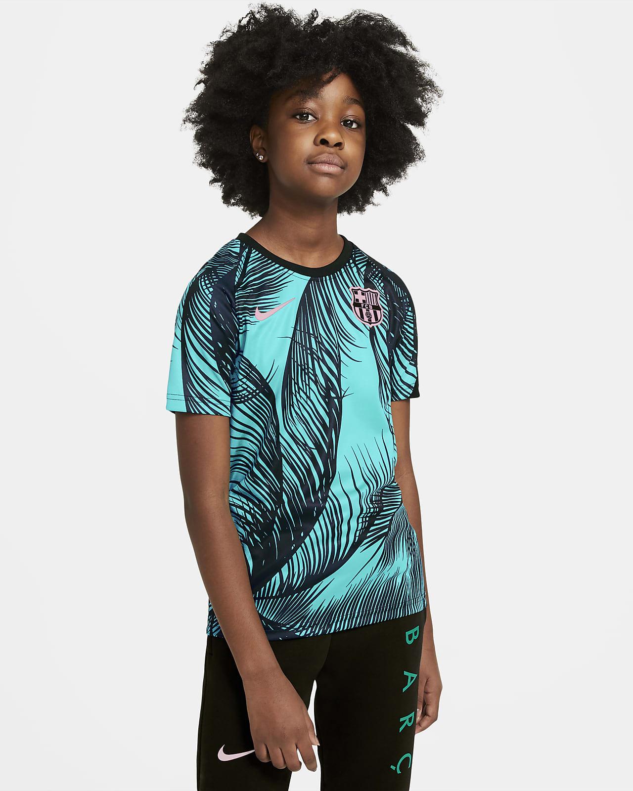 Předzápasové fotbalové tričko FC Barcelona skrátkým rukávem pro větší děti