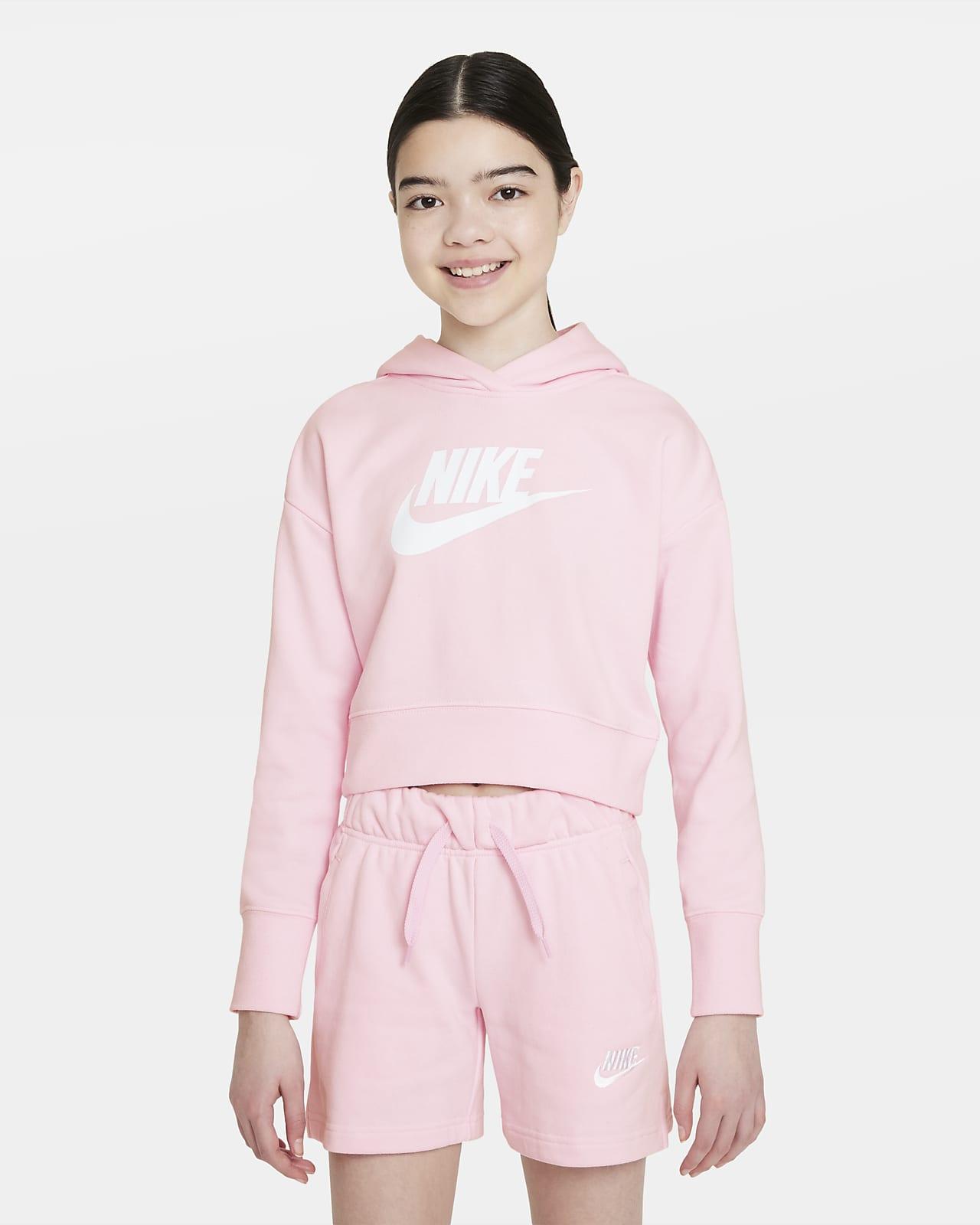 Zkrácená mikina Nike Sportswear Club skapucí zfrancouzského froté provětší děti (dívky)