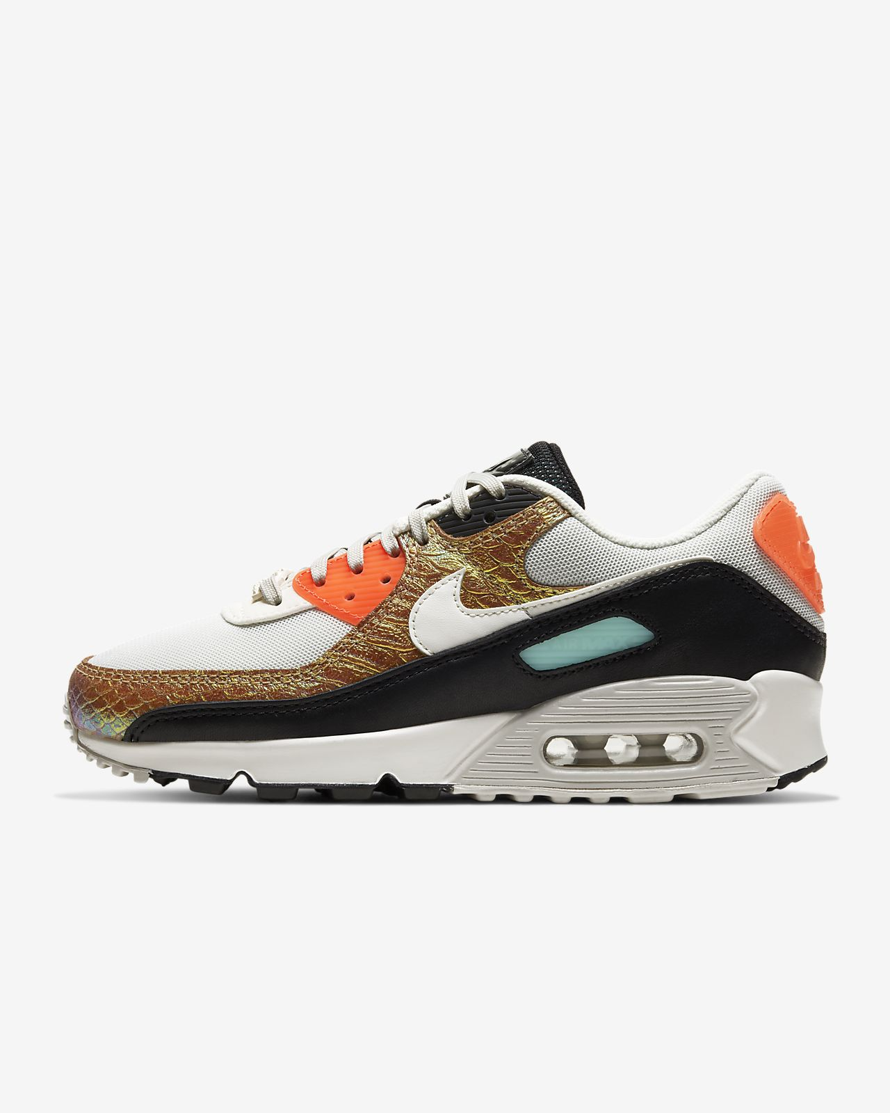 Air Max 90 Premium Sneaker In Sail Light Brown White