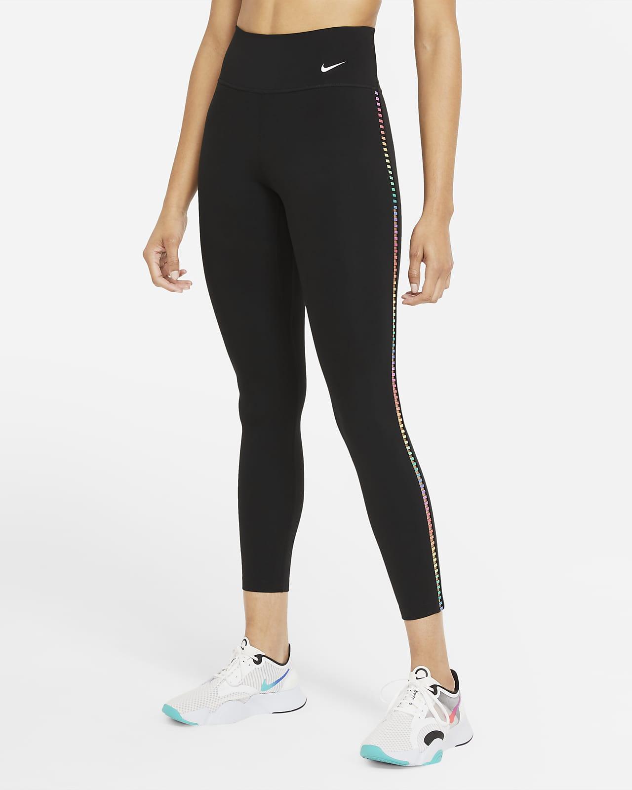 Nike One Rainbow Ladder 7/8-Leggings mit mittelhohem Bund für Damen