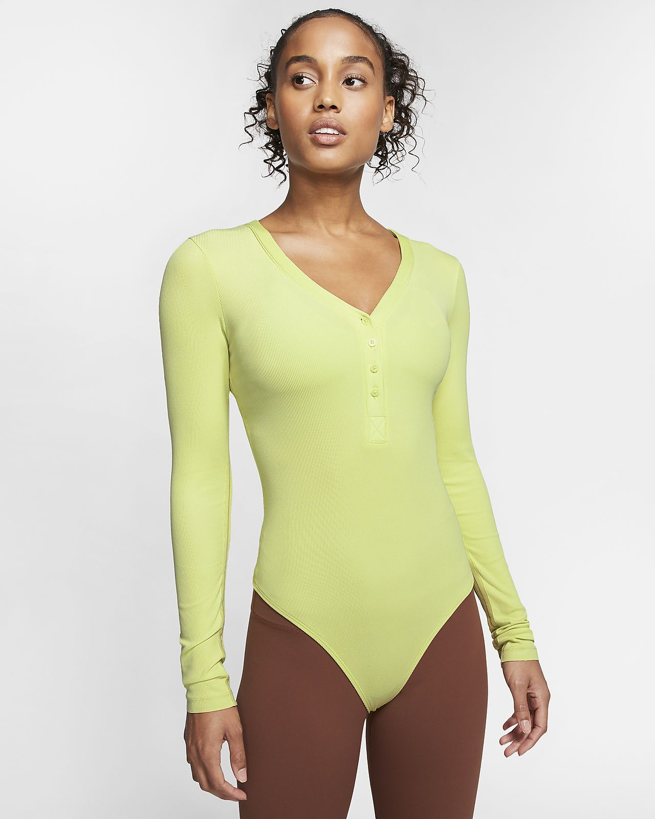 Langærmet Nike-Yoga Luxe-bodysuit til kvinder