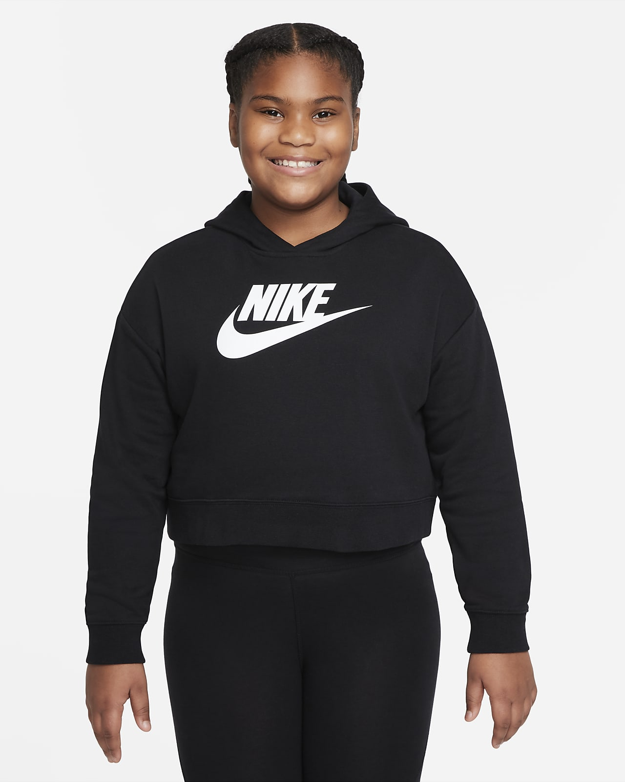 Nike Sportswear Club Older Kids' (Girls') French Terry Cropped Hoodie (Extended Size)
