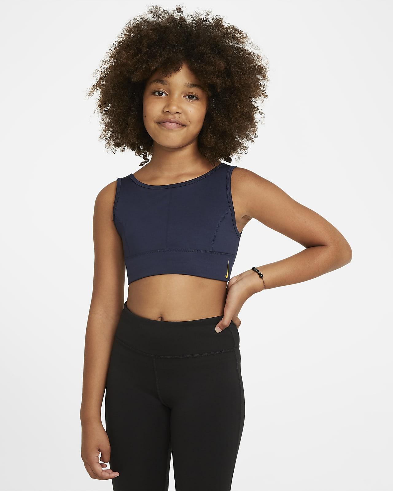 Sujetador deportivo de líneas largas para niñas talla grande Nike Swoosh Luxe