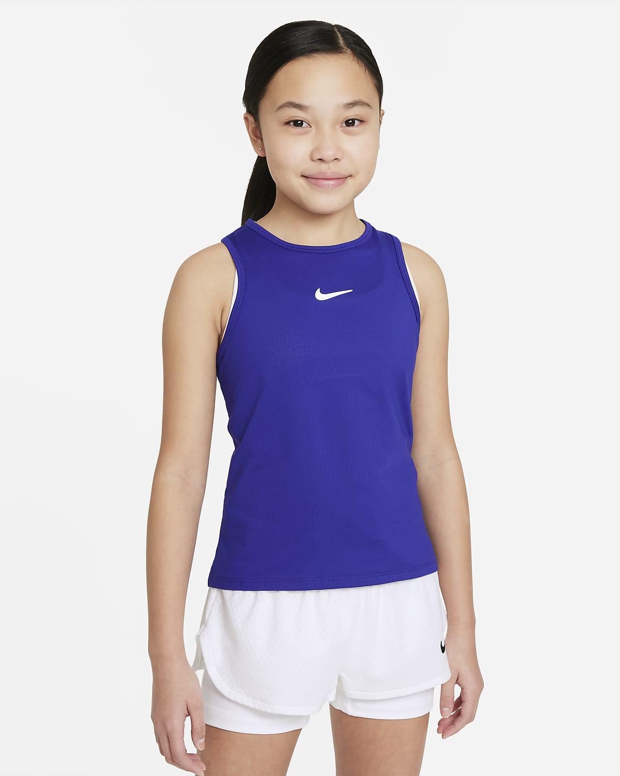 Koszulka tenisowa bez rękawów dla dużych dzieci (dziewcząt) NikeCourt Dri-FIT Victory