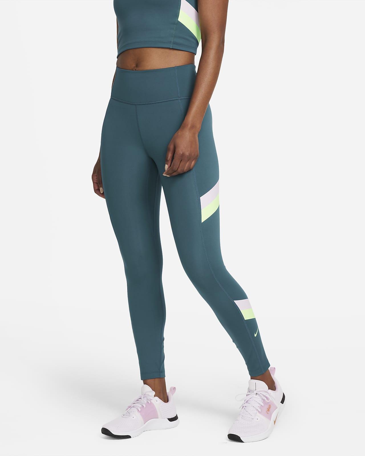 Leggings i 7/8-längd Nike One med mellanhög midja och färgblock för kvinnor