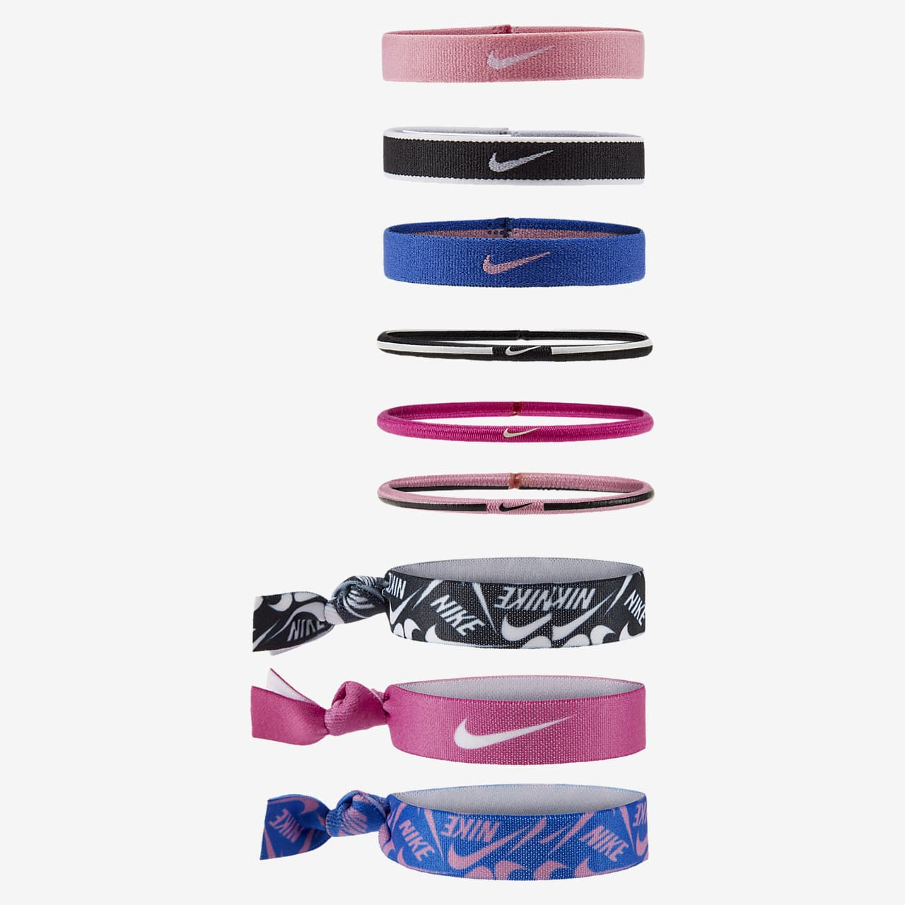 Nike Adult Mixed Ponytail Holder Assorted 9PK Lime Glow//Neptune Green//Wild Berry
