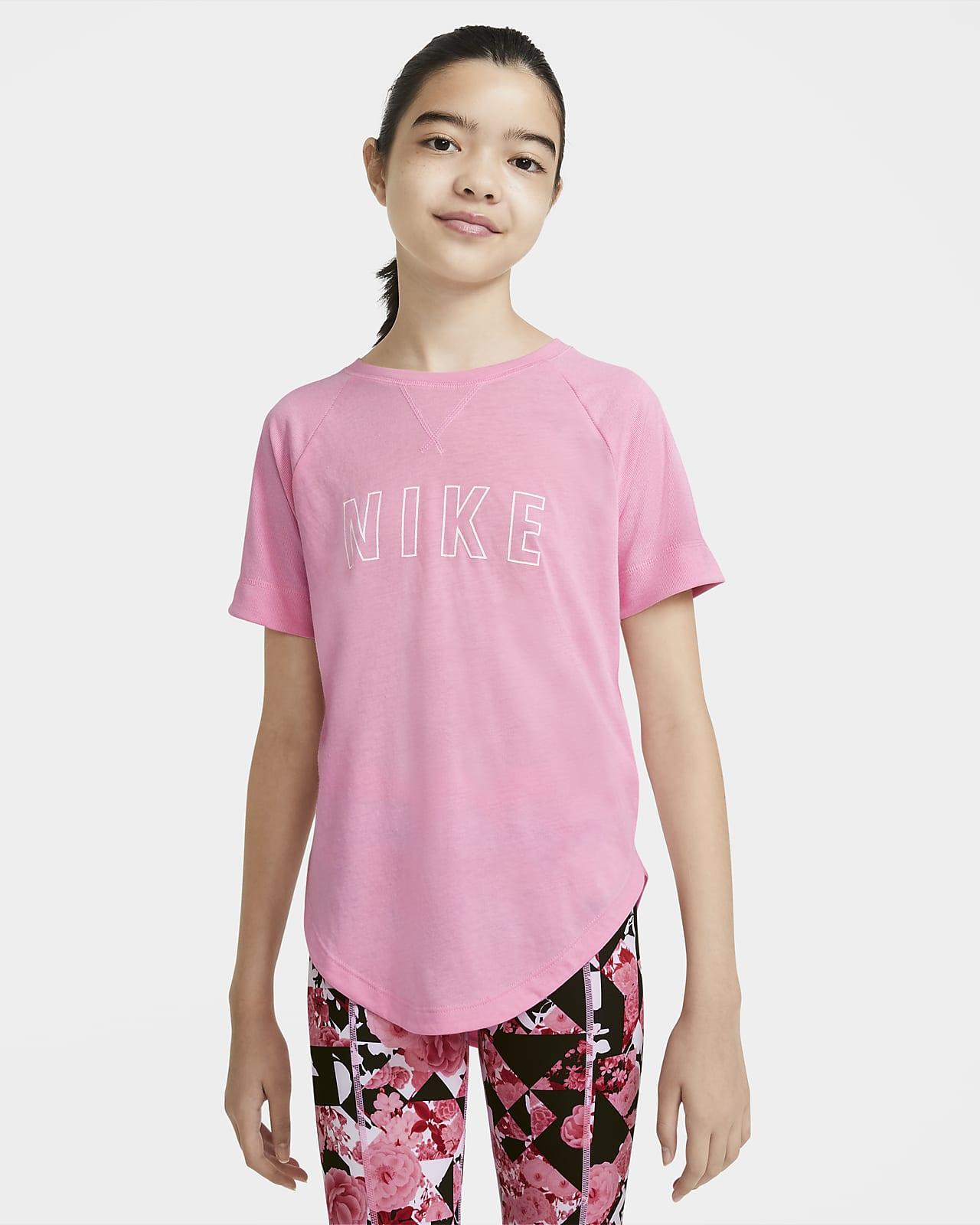 Koszulka treningowa z krótkim rękawem i nadrukiem dla dużych dzieci (dziewcząt) Nike Dri-FIT Trophy