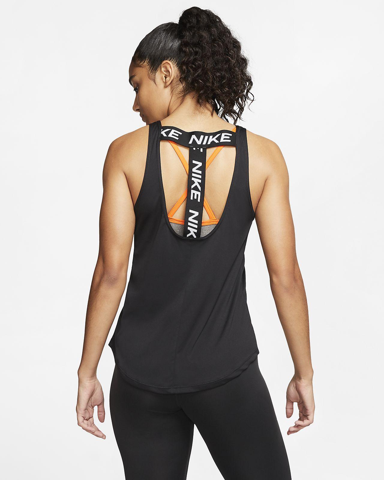 Da DONNA NERO NIKE logo Yoga Palestra T-shirt Tee shirt canotta