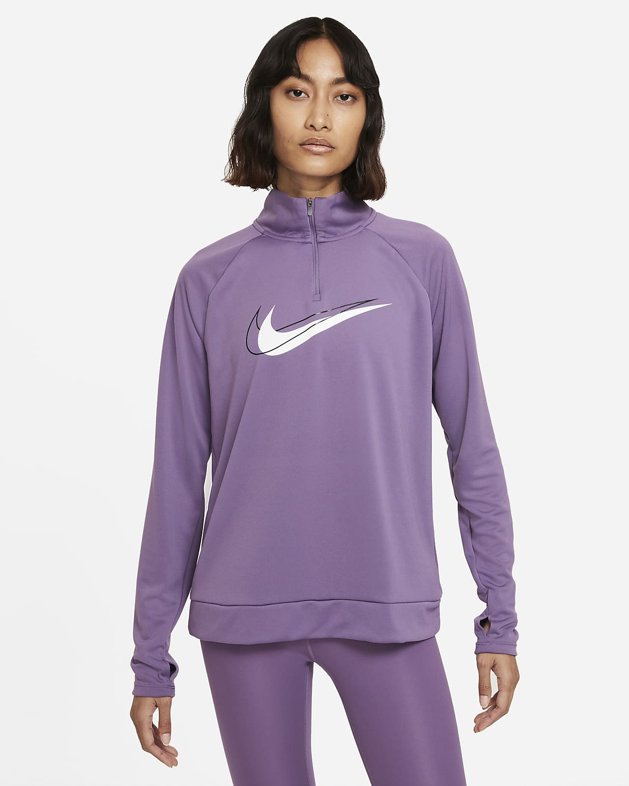 Nike Dri-FIT Swoosh Run Camiseta de capa media de running con media cremallera - Mujer