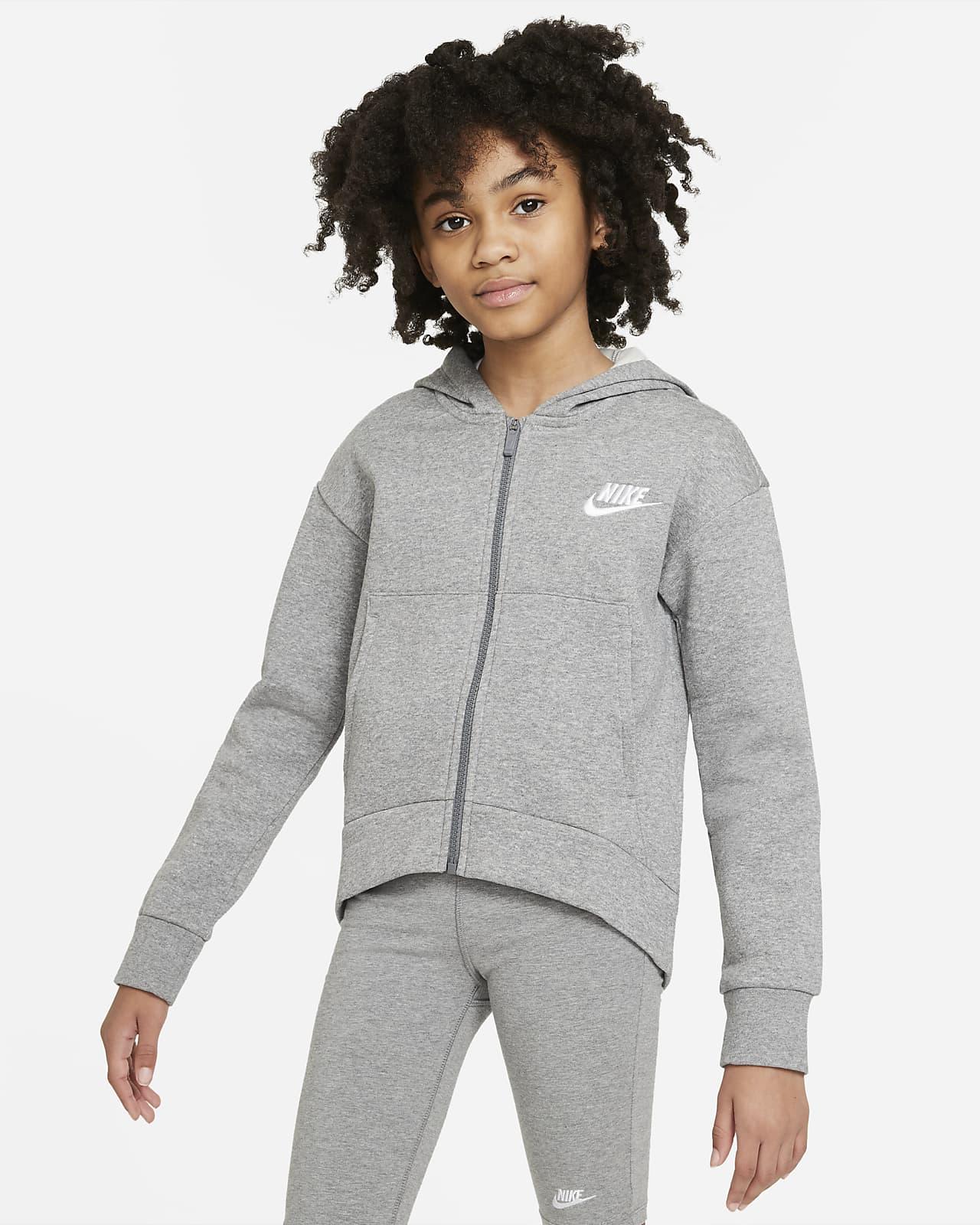 Nike Sportswear Club Fleece hettejakke til store barn (jente)
