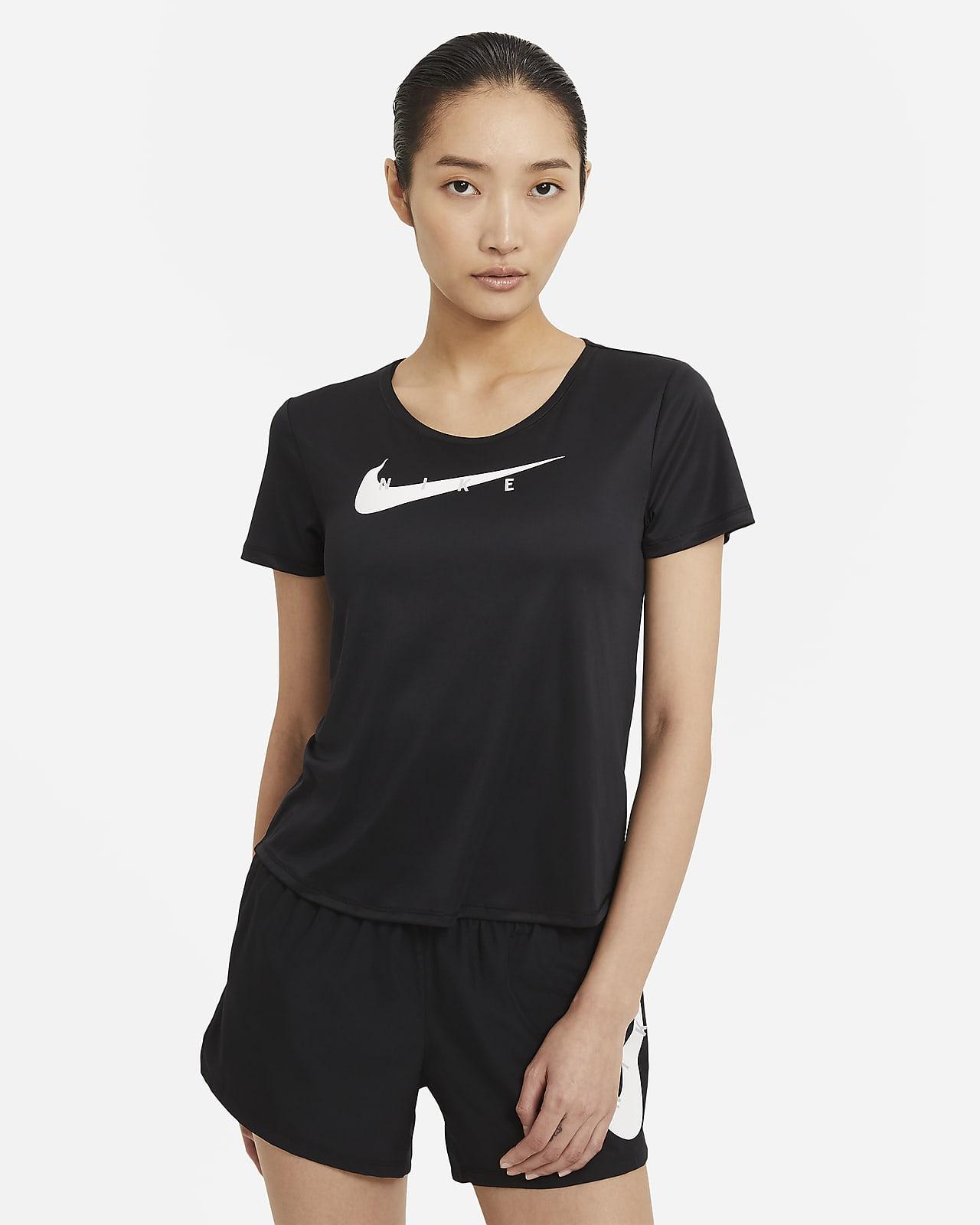 เสื้อวิ่งแขนสั้นผู้หญิง Nike Swoosh Run