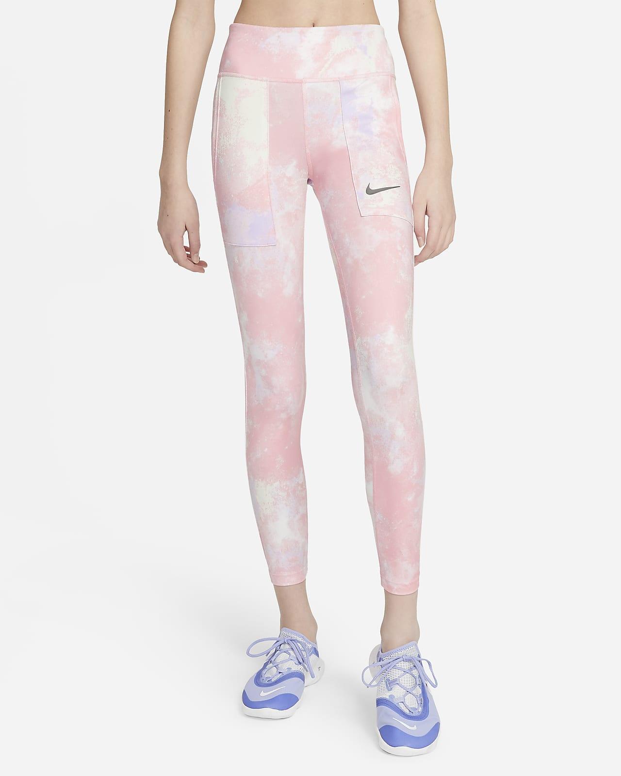 Nike One 大童(女孩)扎染印花紧身裤