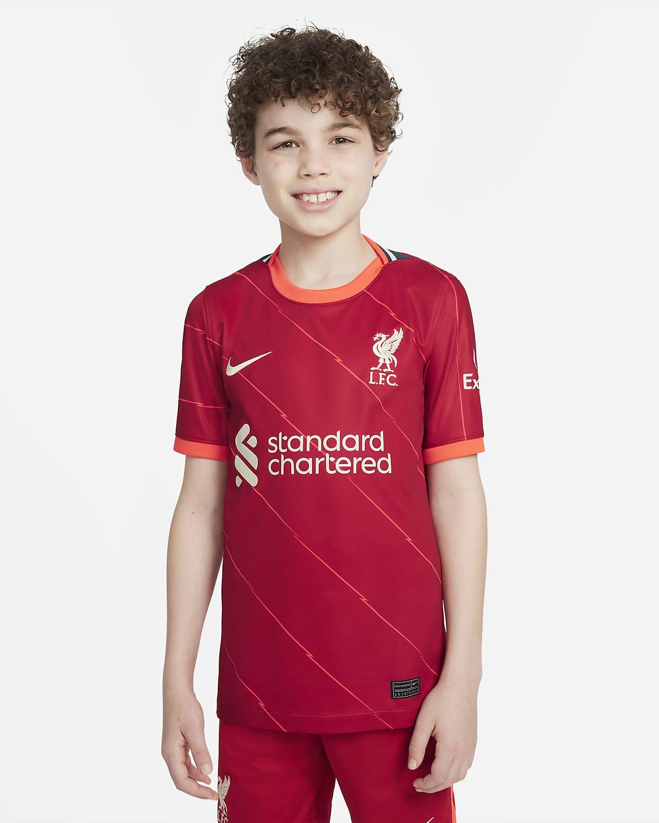 Camisola de futebol do equipamento principal Stadium Liverpool FC 2021/22 Júnior