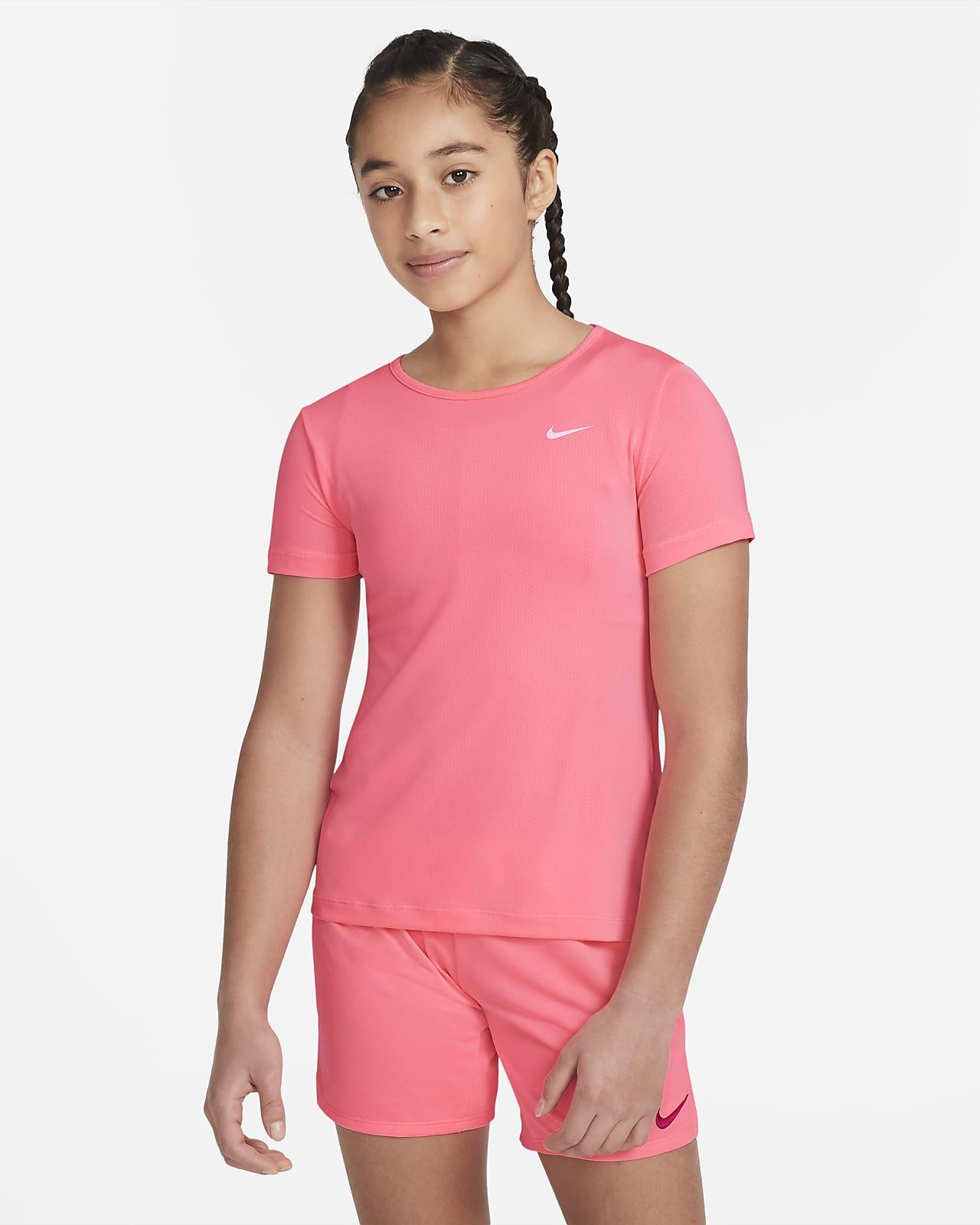 Nike Pro-overdel med korte ærmer til større børn (piger)