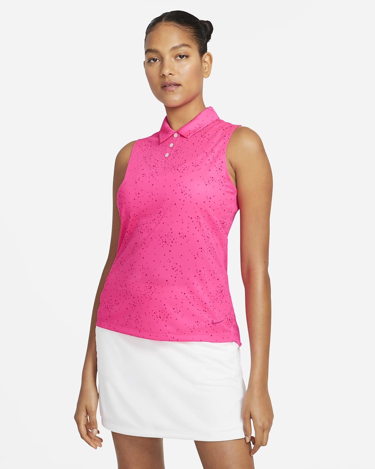Polo de golf imprimé sans manches Nike Dri-FIT pour Femme