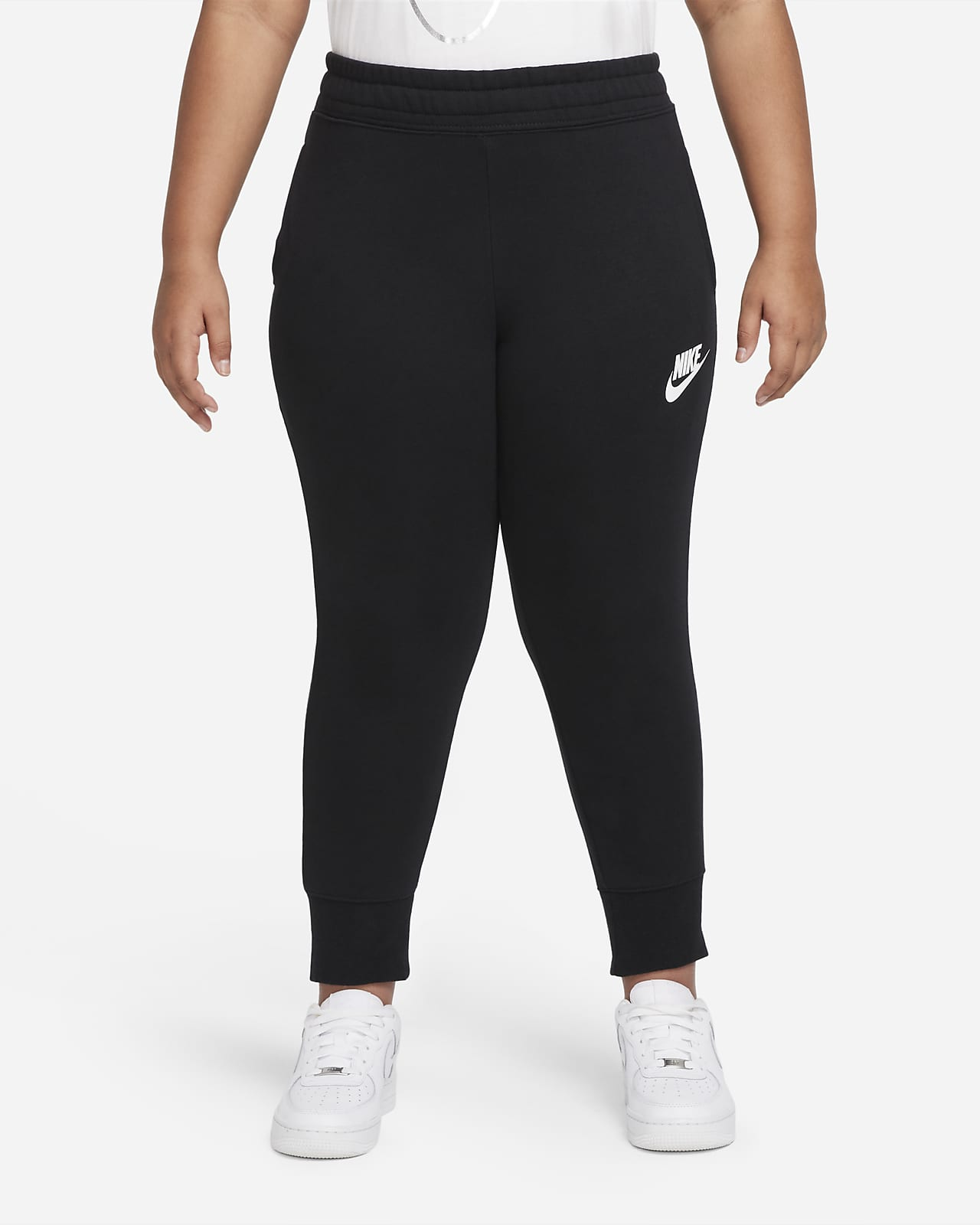 Nike Sportswear Club Older Kids' (Girls') French terry Fitted Trousers (Extended Size)
