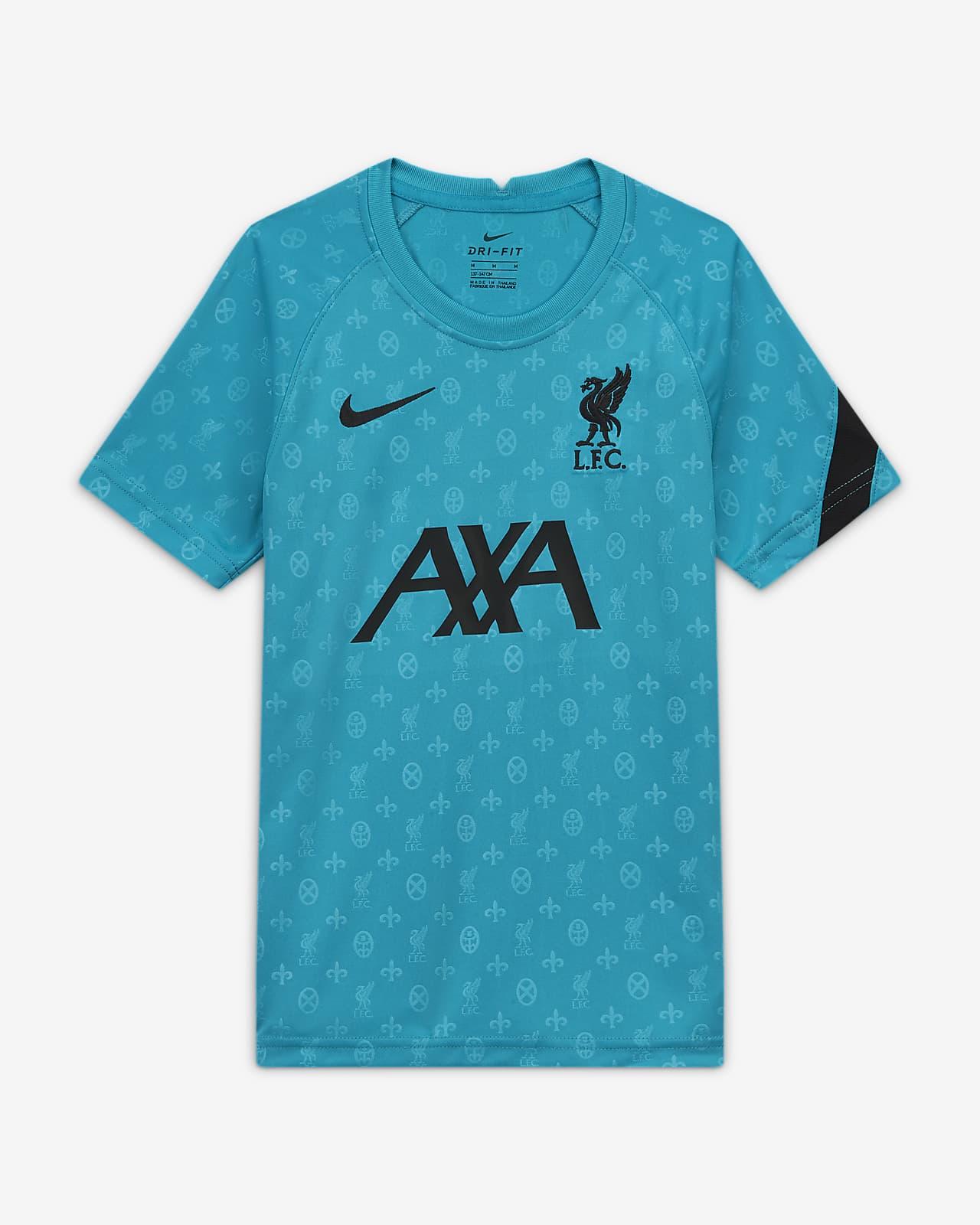 Camiseta de fútbol de manga corta para antes del partido para niños talla grande del Liverpool FC
