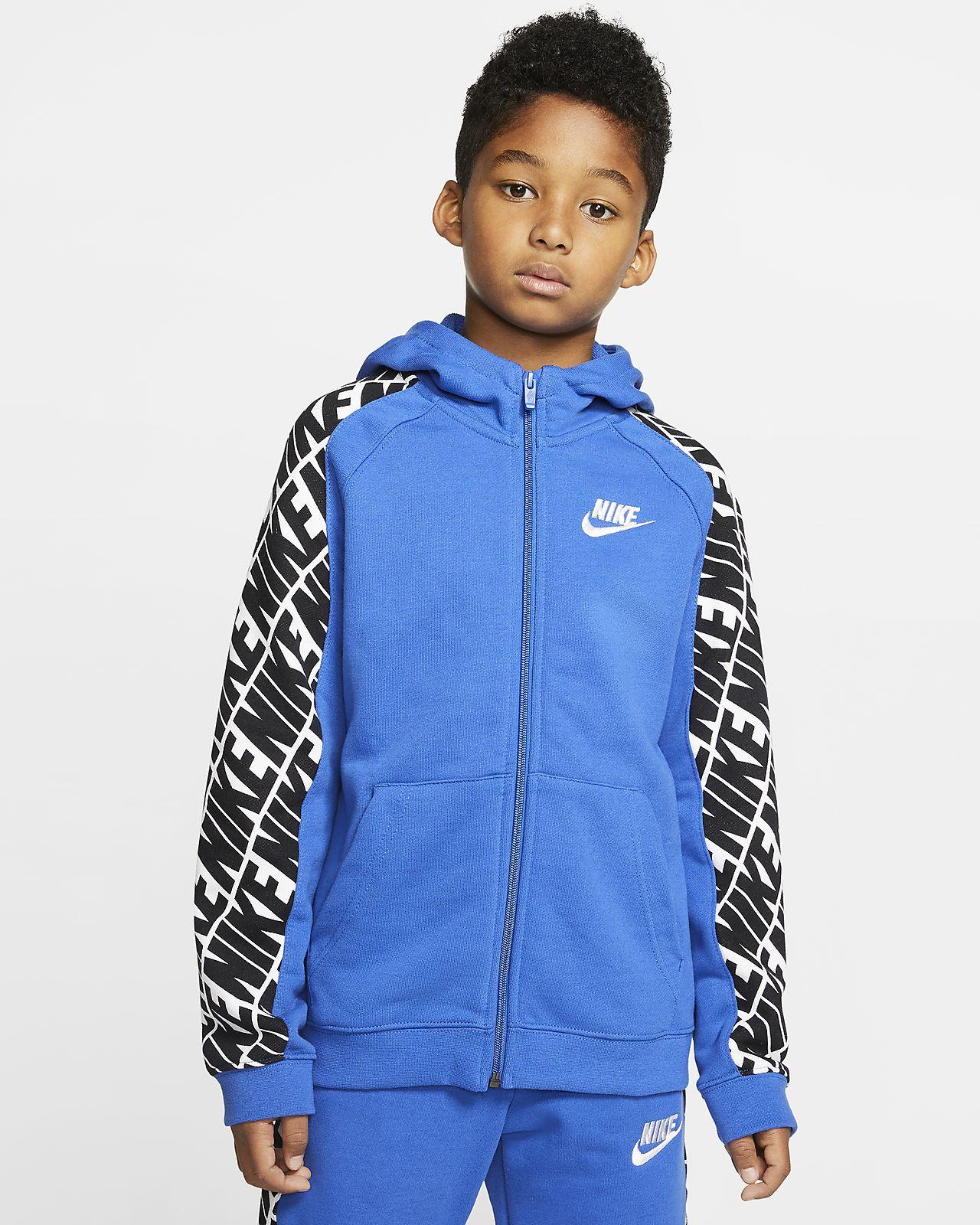 Dzianinowa bluza z kapturem i zamkiem na całej długości dla dużych dzieci (chłopców) Nike Sportswear