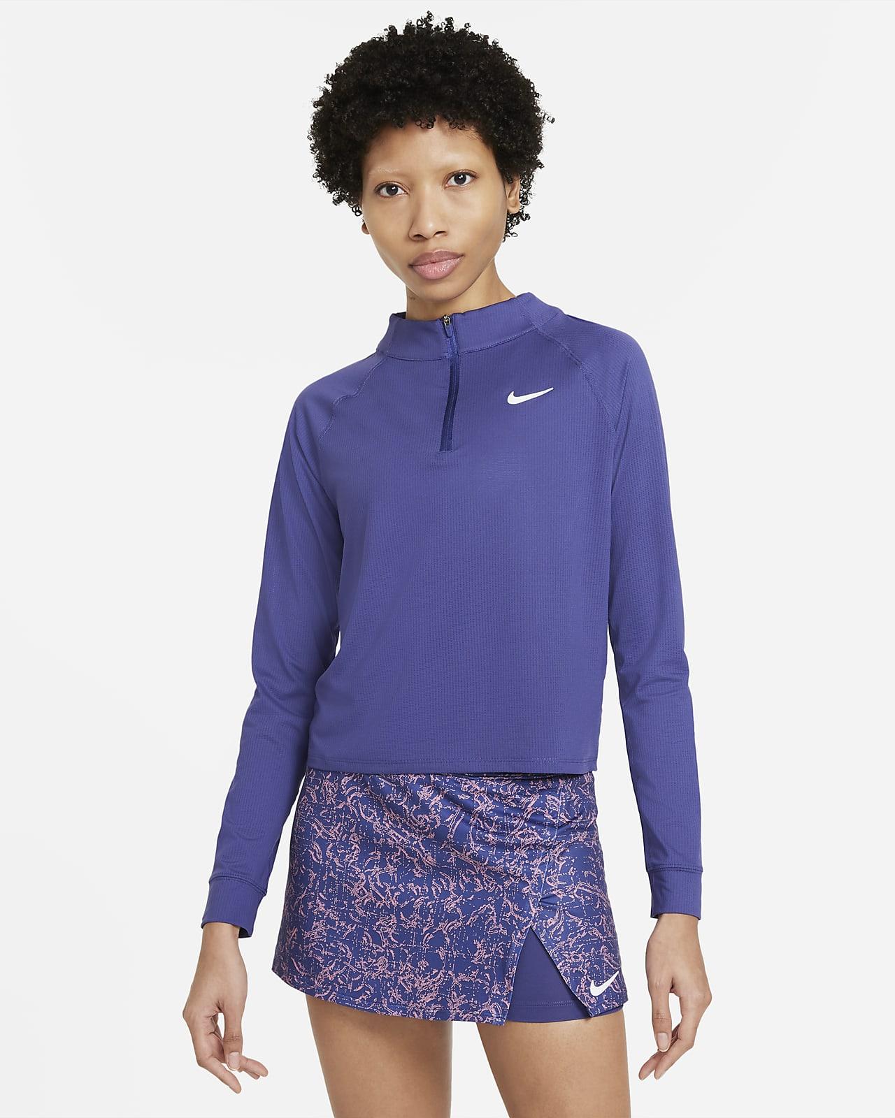 NikeCourt Dri-FIT Victory Uzun Kollu Yarım Fermuarlı Kadın Tenis Üstü