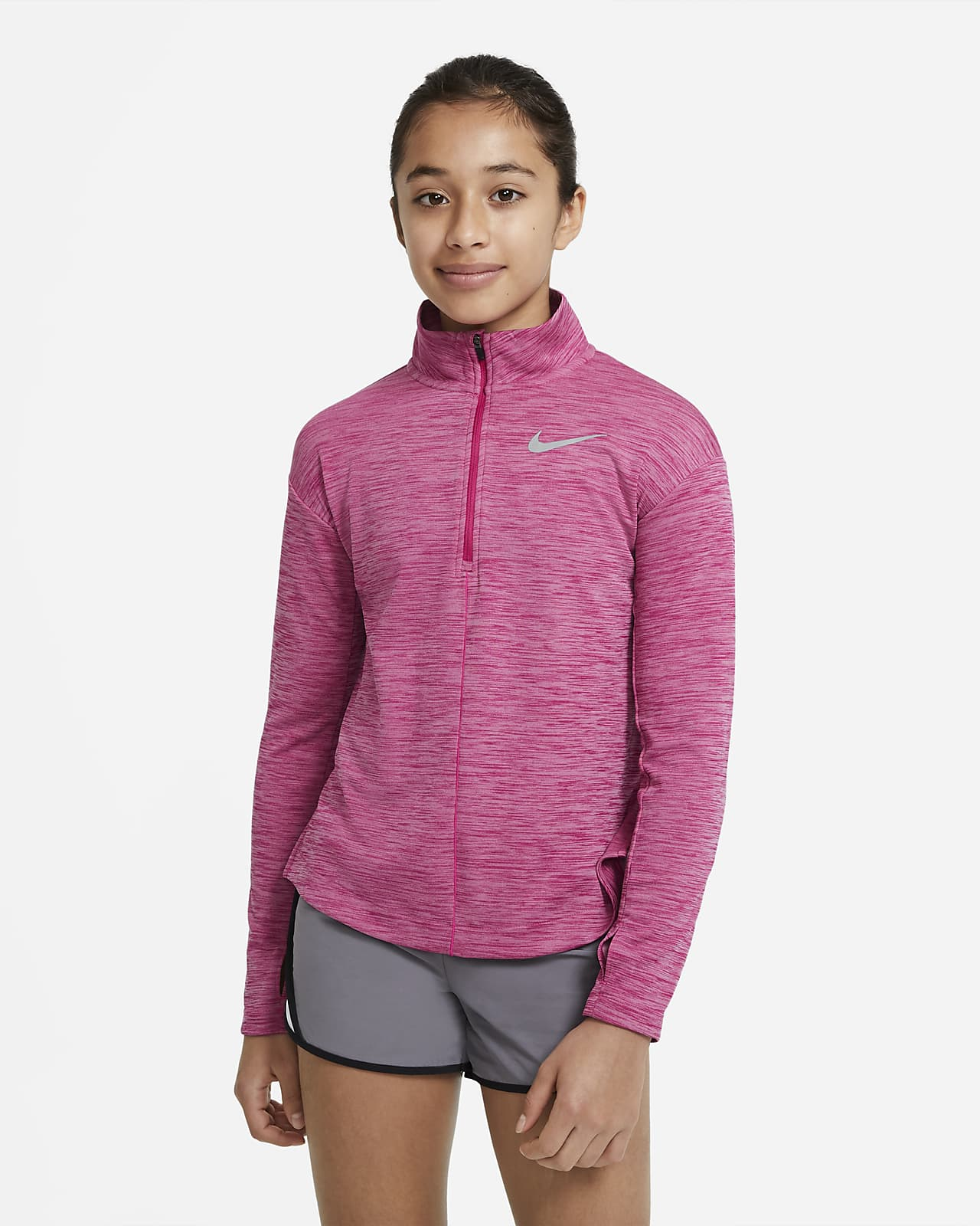 Nike Hardlooptop met lange mouwen en halflange rits voor meisjes